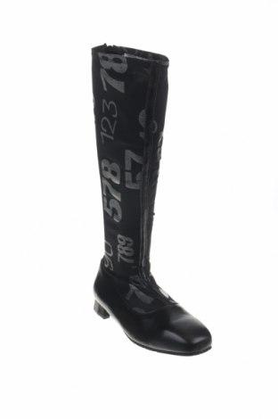 Γυναικείες μπότες Tiggers, Μέγεθος 39, Χρώμα Μαύρο, Κλωστοϋφαντουργικά προϊόντα, γνήσιο δέρμα, Τιμή 21,55€