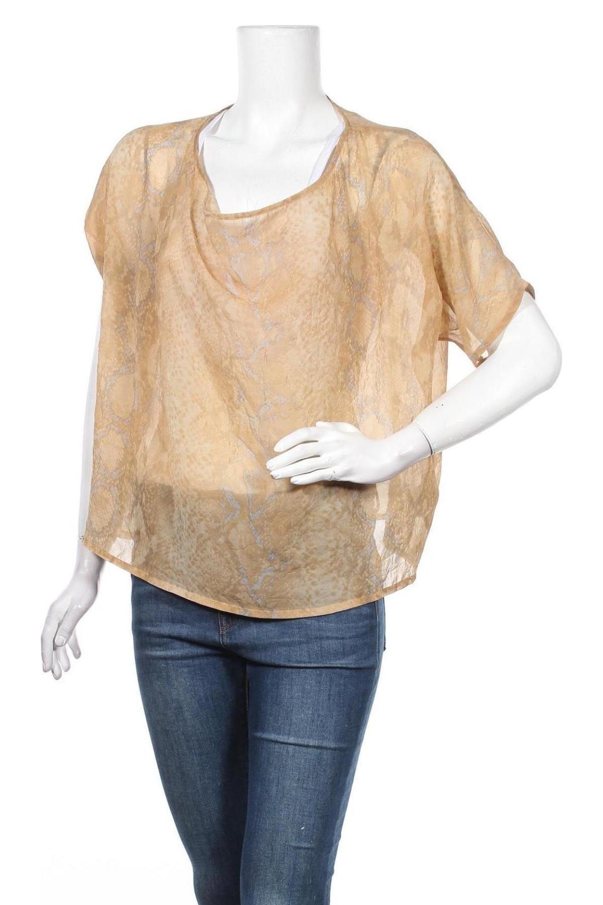 Дамска блуза Mtwtfss Weekday, Размер M, Цвят Кафяв, Полиестер, Цена 4,20лв.