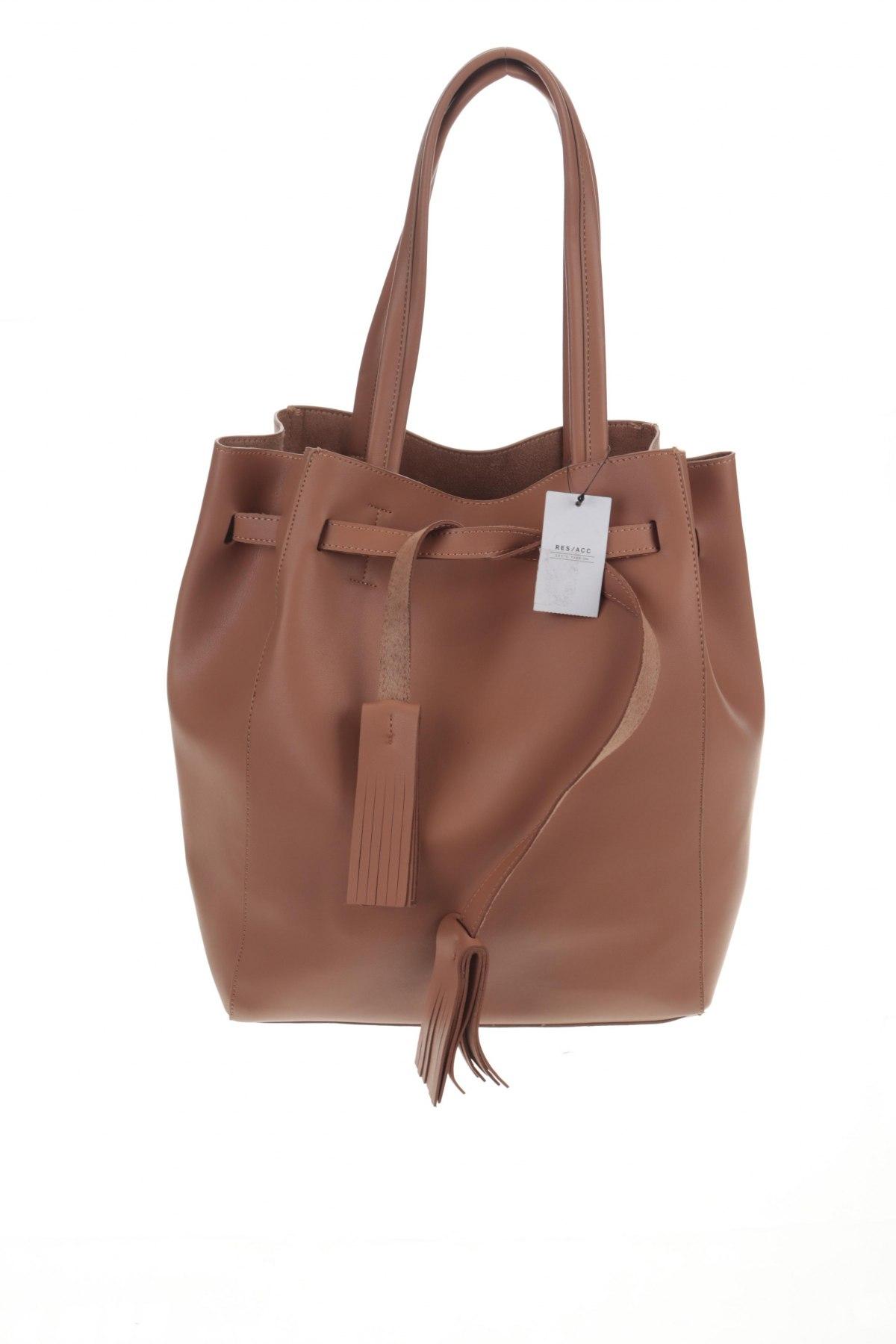 Дамска чанта Reserved, Цвят Кафяв, Еко кожа, Цена 34,22лв.