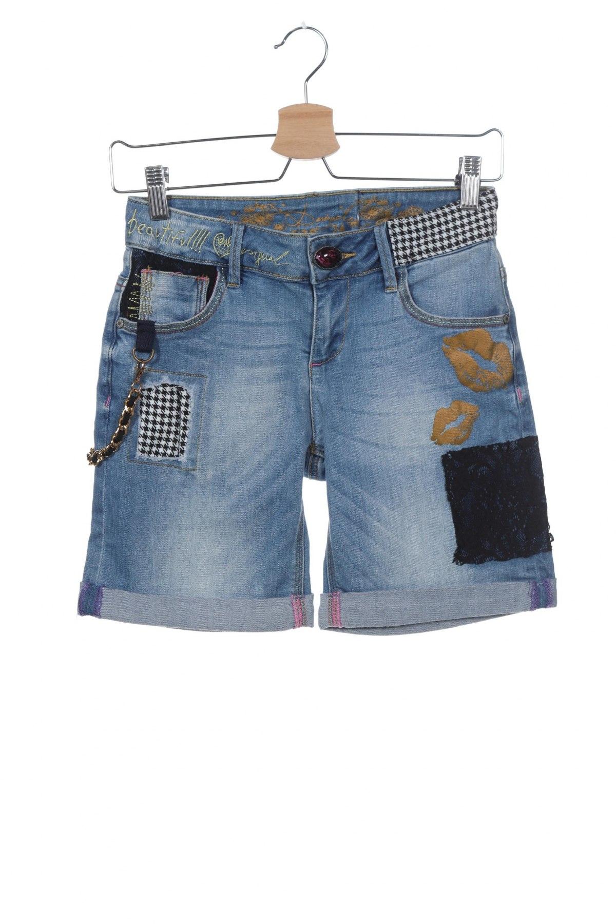 Γυναικείο κοντό παντελόνι Desigual, Μέγεθος XS, Χρώμα Μπλέ, 95% πολυεστέρας, 5% βαμβάκι, Τιμή 20,36€