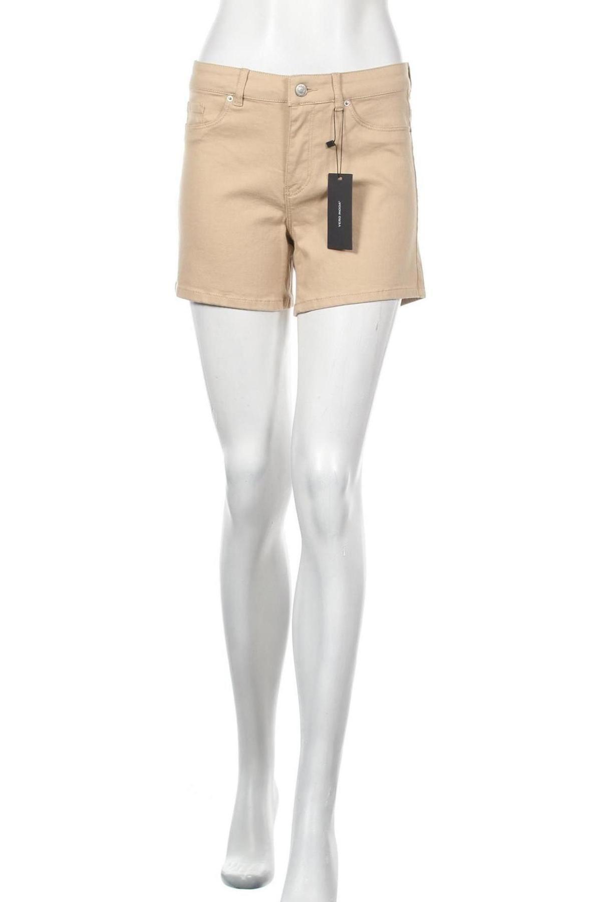 Γυναικείο κοντό παντελόνι Vero Moda, Μέγεθος S, Χρώμα  Μπέζ, 82% βαμβάκι, 16% βισκόζη, 2% ελαστάνη, Τιμή 16,70€