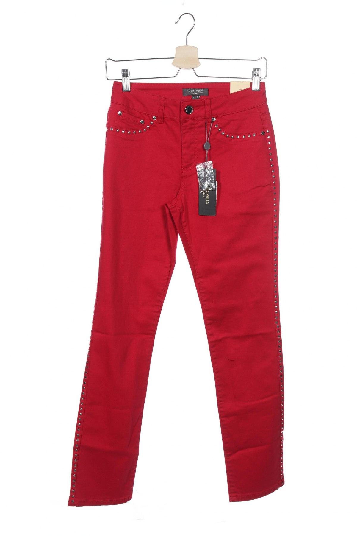 Дамски панталон Camomilla, Размер XS, Цвят Червен, 98% памук, 2% еластан, Цена 20,47лв.