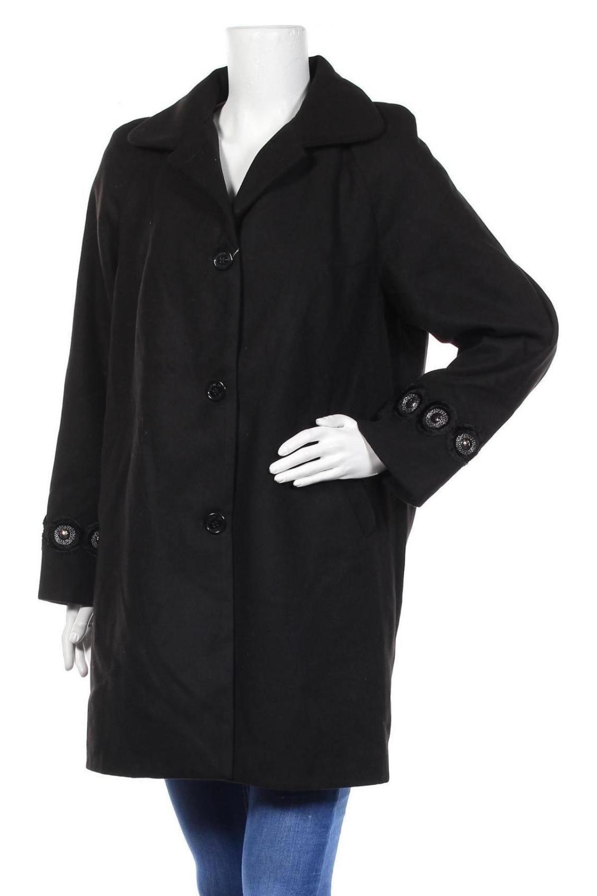 Дамско палто Camomilla, Размер XL, Цвят Черен, 85% полиестер, 12% вискоза, 3% еластан, Цена 71,82лв.