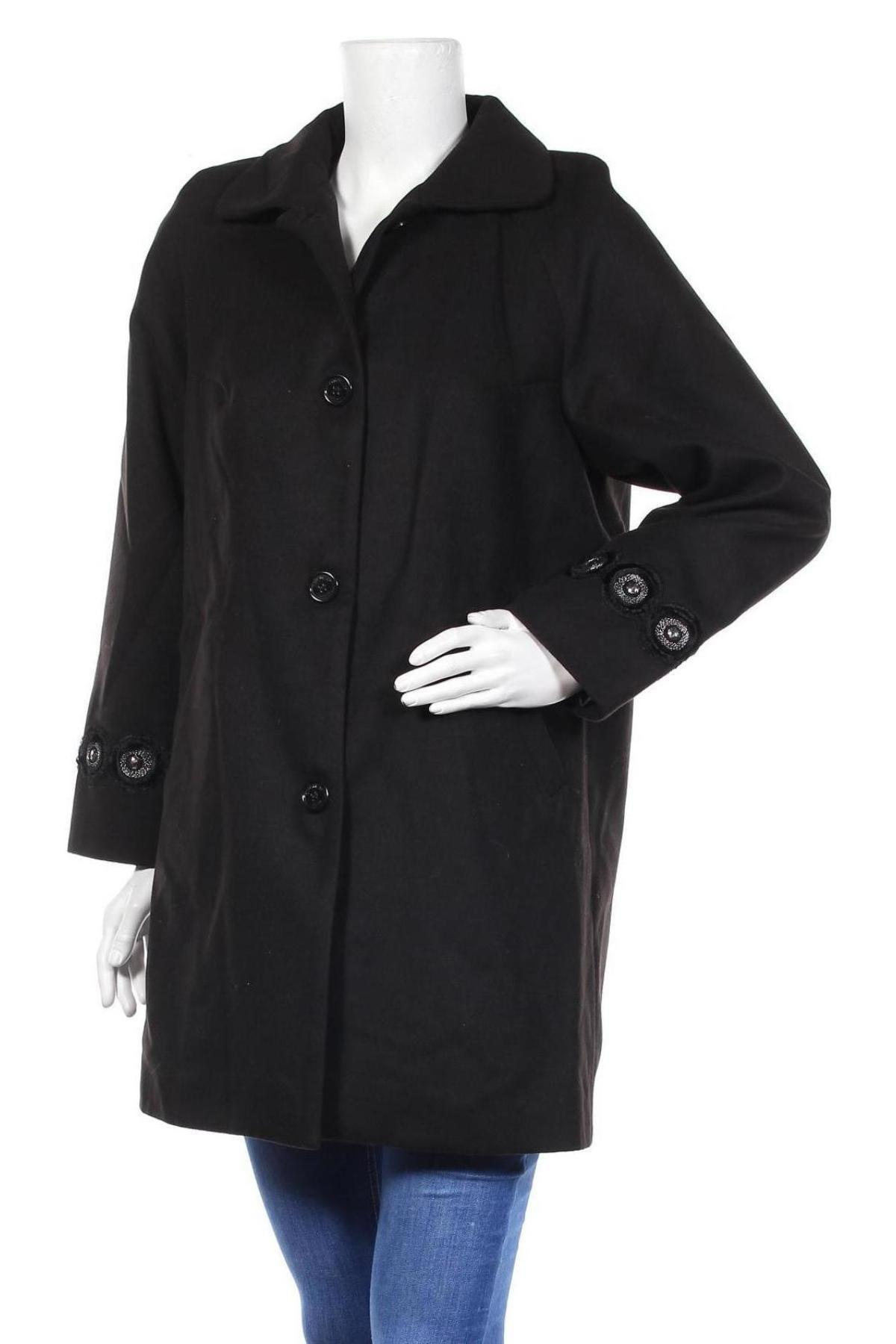 Дамско палто Camomilla, Размер M, Цвят Черен, 85% полиестер, 12% вискоза, 3% еластан, Цена 71,82лв.