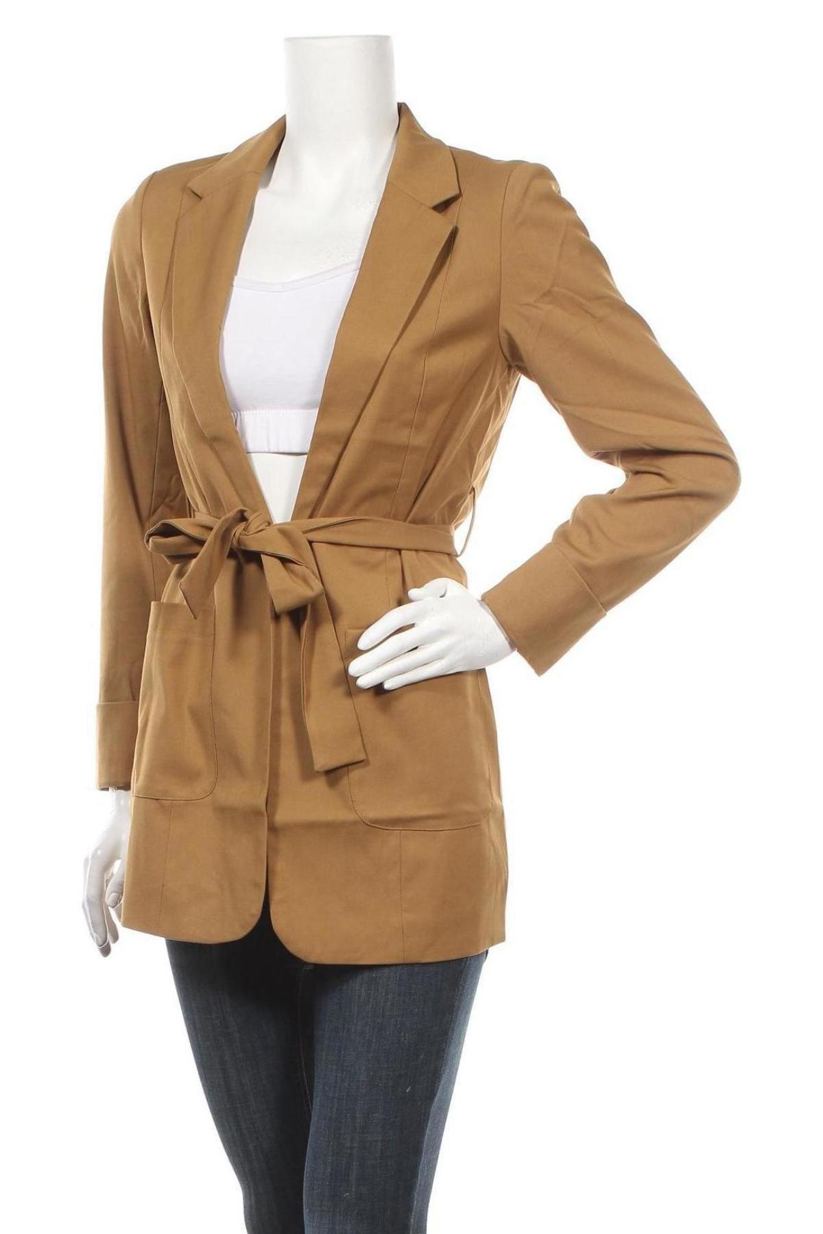 Дамско палто ONLY, Размер S, Цвят Кафяв, 65% полиестер, 33% вискоза, 2% еластан, Цена 42,72лв.
