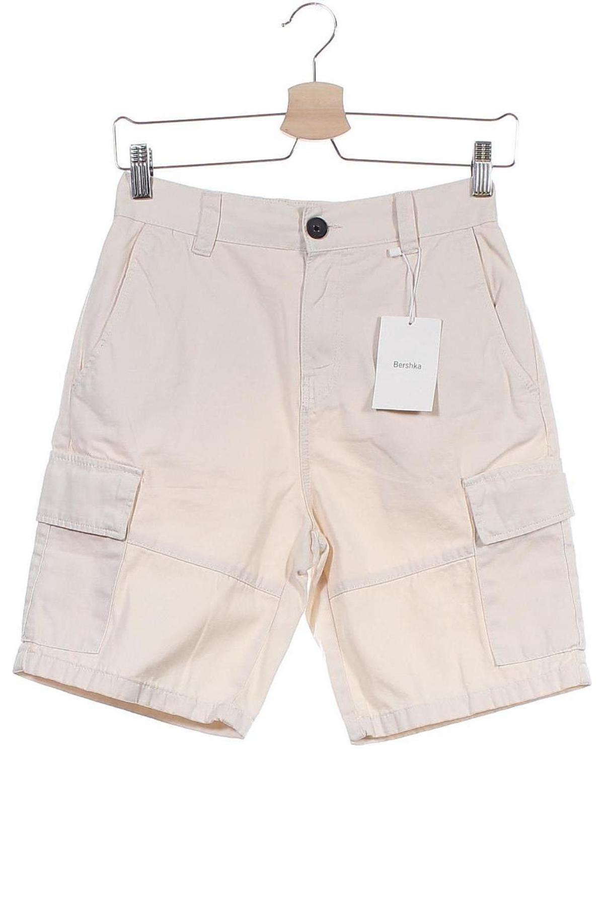 Pantaloni scurți de bărbați Bershka, Mărime XS, Culoare Bej, Bumbac, Preț 31,82 Lei