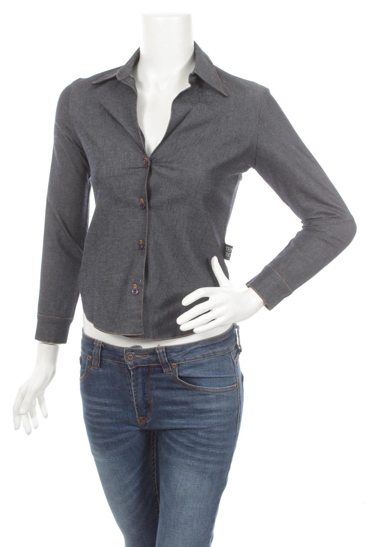 Γυναικείο πουκάμισο, Μέγεθος XS, Χρώμα Μπλέ, 90% πολυεστέρας, 10% ελαστάνη, Τιμή 22,68€