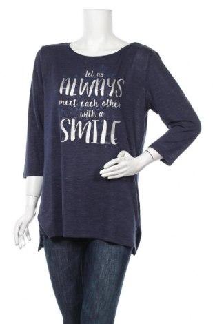 Дамска блуза Colours Of The World, Размер L, Цвят Син, 52% полиестер, 45% вискоза, 3% еластан, Цена 14,96лв.