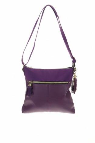 Дамска чанта, Цвят Лилав, Еко кожа, текстил, Цена 22,94лв.
