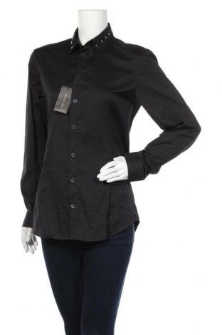 Дамска риза Patrizia Pepe, Размер L, Цвят Черен, 67% памук, 27% полиамид, 6% еластан, Цена 89,25лв.