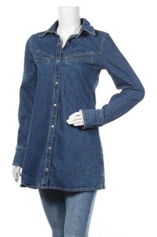 Дамска риза Zara Trafaluc, Размер M, Цвят Син, 99% памук, 1% еластан, Цена 27,00лв.