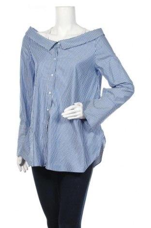 Дамска риза Zara Trafaluc, Размер L, Цвят Син, Памук, Цена 29,40лв.