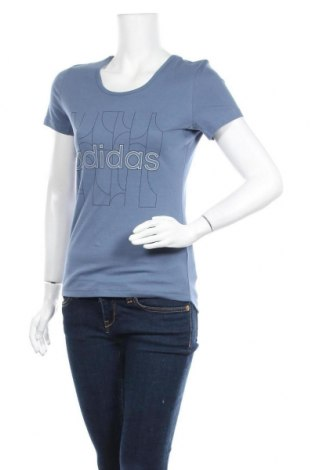 Γυναικείο t-shirt Adidas, Μέγεθος S, Χρώμα Μπλέ, 70% βαμβάκι, 30% πολυεστέρας, Τιμή 22,81€