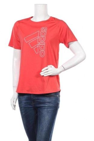 Γυναικείο t-shirt Adidas, Μέγεθος M, Χρώμα Κόκκινο, 84% πολυεστέρας, 16% ελαστάνη, Τιμή 26,68€