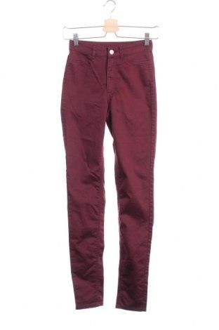 Дамски панталон H&M Divided, Размер XS, Цвят Червен, 61% памук, 37% полиестер, 2% еластан, Цена 7,16лв.
