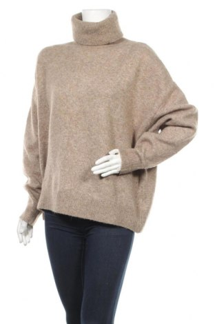 Дамски пуловер H&M, Размер L, Цвят Кафяв, 62% акрил, 28% полиамид, 8% вълна, 2% еластан, Цена 25,50лв.