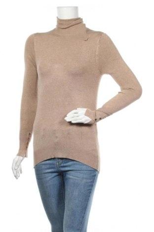 Дамски пуловер Zara, Размер M, Цвят Бежов, 83% вискоза, 15% полиамид, 2% еластан, Цена 31,05лв.