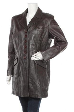 Дамско кожено палто, Размер XL, Цвят Кафяв, Естествена кожа, Цена 92,40лв.