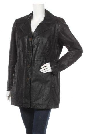 Дамско кожено палто Yessica, Размер XL, Цвят Черен, Естествен велур, Цена 85,79лв.