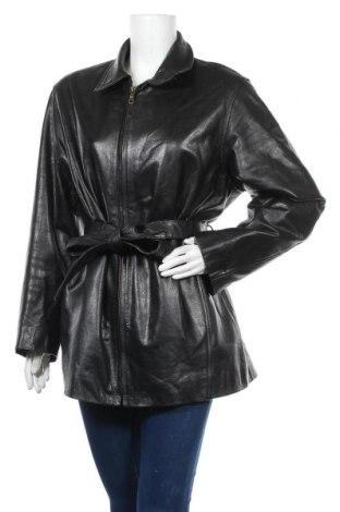 Дамско кожено яке, Размер XL, Цвят Черен, Естествена кожа, Цена 32,13лв.