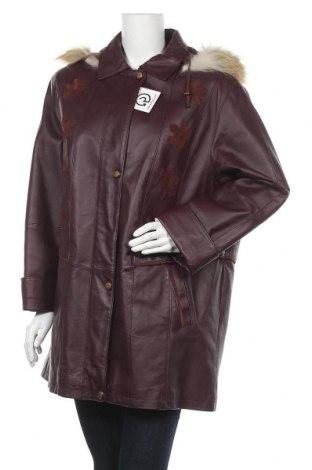 Γυναικείο δερμάτινο μπουφάν, Μέγεθος XL, Χρώμα Βιολετί, Γνήσιο δέρμα, φυσική τρίχα, Τιμή 18,64€