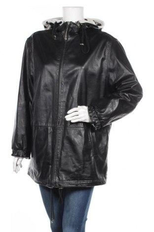 Дамско кожено яке, Размер XL, Цвят Черен, Естествена кожа, текстил, Цена 74,55лв.