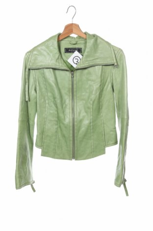 Дамско кожено яке, Размер XS, Цвят Зелен, Естествена кожа, Цена 41,11лв.