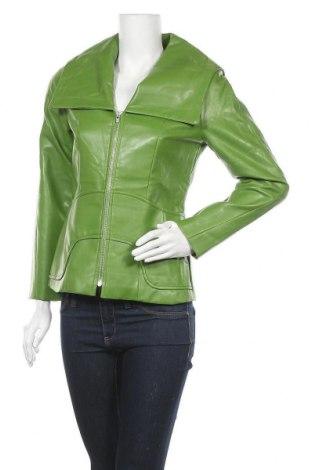 Дамско кожено яке, Размер M, Цвят Зелен, Еко кожа, Цена 35,70лв.