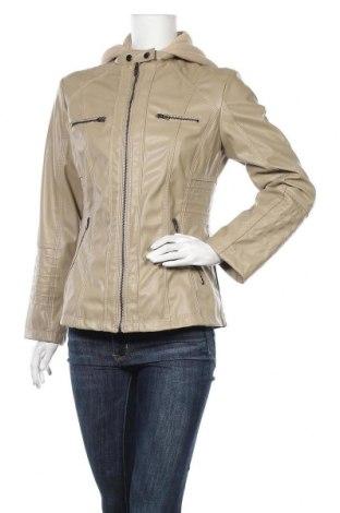 Дамско кожено яке, Размер L, Цвят Бежов, Еко кожа, Цена 34,02лв.