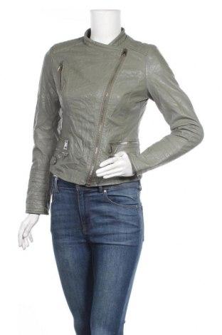Дамско кожено яке, Размер S, Цвят Зелен, Еко кожа, Цена 46,31лв.