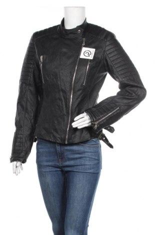 Дамско кожено яке, Размер M, Цвят Черен, Еко кожа, Цена 48,20лв.