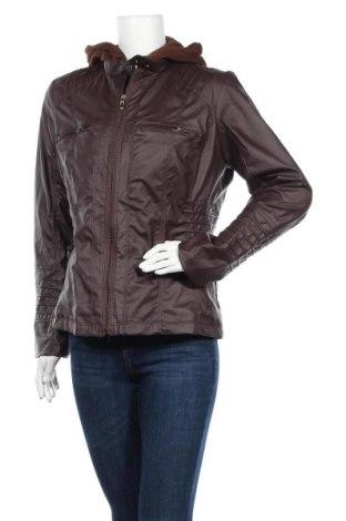 Дамско кожено яке, Размер L, Цвят Кафяв, Еко кожа, текстил, Цена 17,96лв.