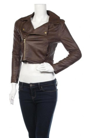 Дамско кожено яке Bik Bok, Размер XS, Цвят Кафяв, Еко кожа, Цена 30,87лв.