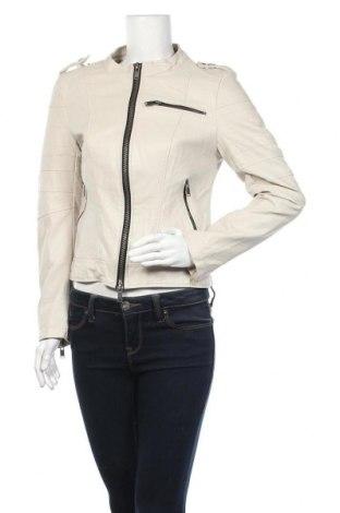 Дамско кожено яке Fb Sister, Размер M, Цвят Бежов, Еко кожа, Цена 32,76лв.