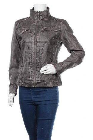 Дамско кожено яке Gina, Размер M, Цвят Сив, Еко кожа, Цена 39,69лв.