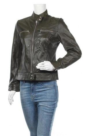 Дамско кожено яке Hennes, Размер S, Цвят Зелен, Естествена кожа, Цена 69,00лв.