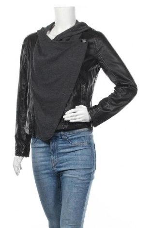 Дамско кожено яке Hollister, Размер M, Цвят Черен, Еко кожа, памук, полиестер, Цена 36,00лв.