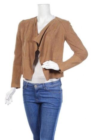 Дамско кожено яке Mango, Размер XS, Цвят Бежов, Естествен велур, Цена 61,50лв.