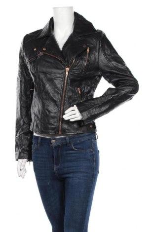 Дамско кожено яке Sass, Размер M, Цвят Черен, Еко кожа, Цена 41,16лв.