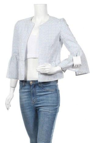 Дамско сако Zara, Размер XS, Цвят Син, 46% полиестер, 39% памук, 15% вискоза, Цена 44,25лв.