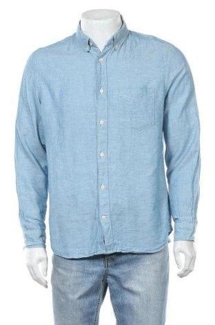 Мъжка риза H&M L.O.G.G., Размер L, Цвят Син, 67% памук, 33% лен, Цена 17,96лв.