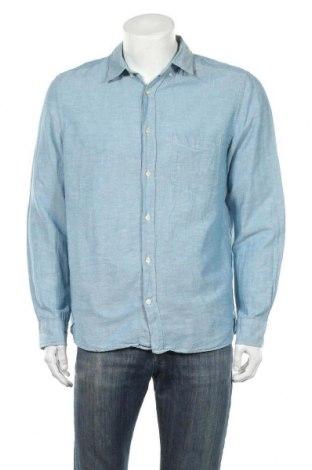 Ανδρικό πουκάμισο H&M L.O.G.G., Μέγεθος L, Χρώμα Μπλέ, 67% βαμβάκι, 33% λινό, Τιμή 8,02€