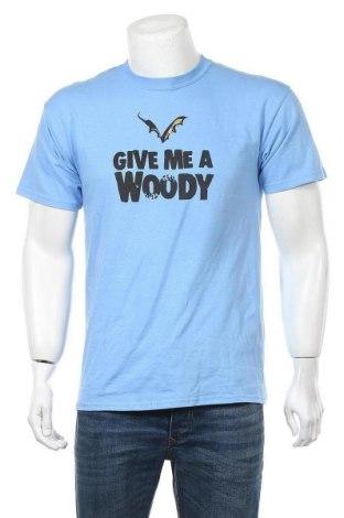 Мъжка тениска Gildan, Размер M, Цвят Син, Памук, Цена 11,81лв.