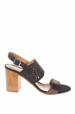 Сандали CAFèNOIR, Размер 40, Цвят Черен, Естествен велур, естествена кожа, Цена 43,60лв.