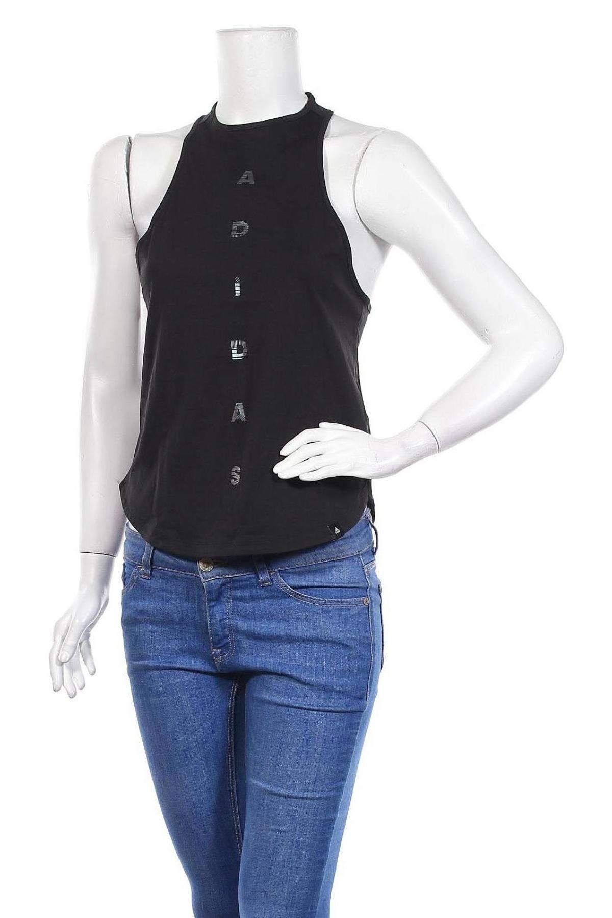 Γυναικείο αμάνικο μπλουζάκι Adidas, Μέγεθος XS, Χρώμα Μαύρο, Βαμβάκι, Τιμή 24,74€