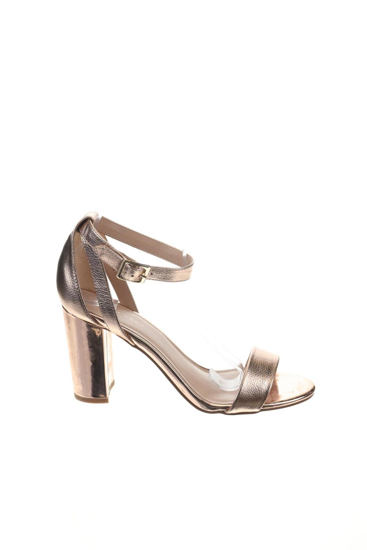 Σανδάλια New Look, Μέγεθος 40, Χρώμα Χρυσαφί, Δερματίνη, Τιμή 19,16€