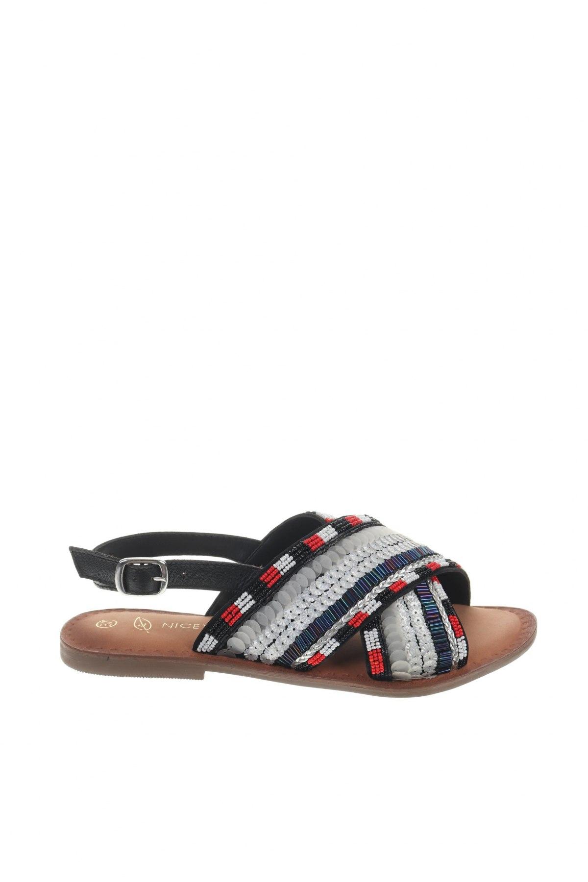 Сандали Nicewalk, Размер 37, Цвят Многоцветен, Текстил, еко кожа, Цена 20,09лв.