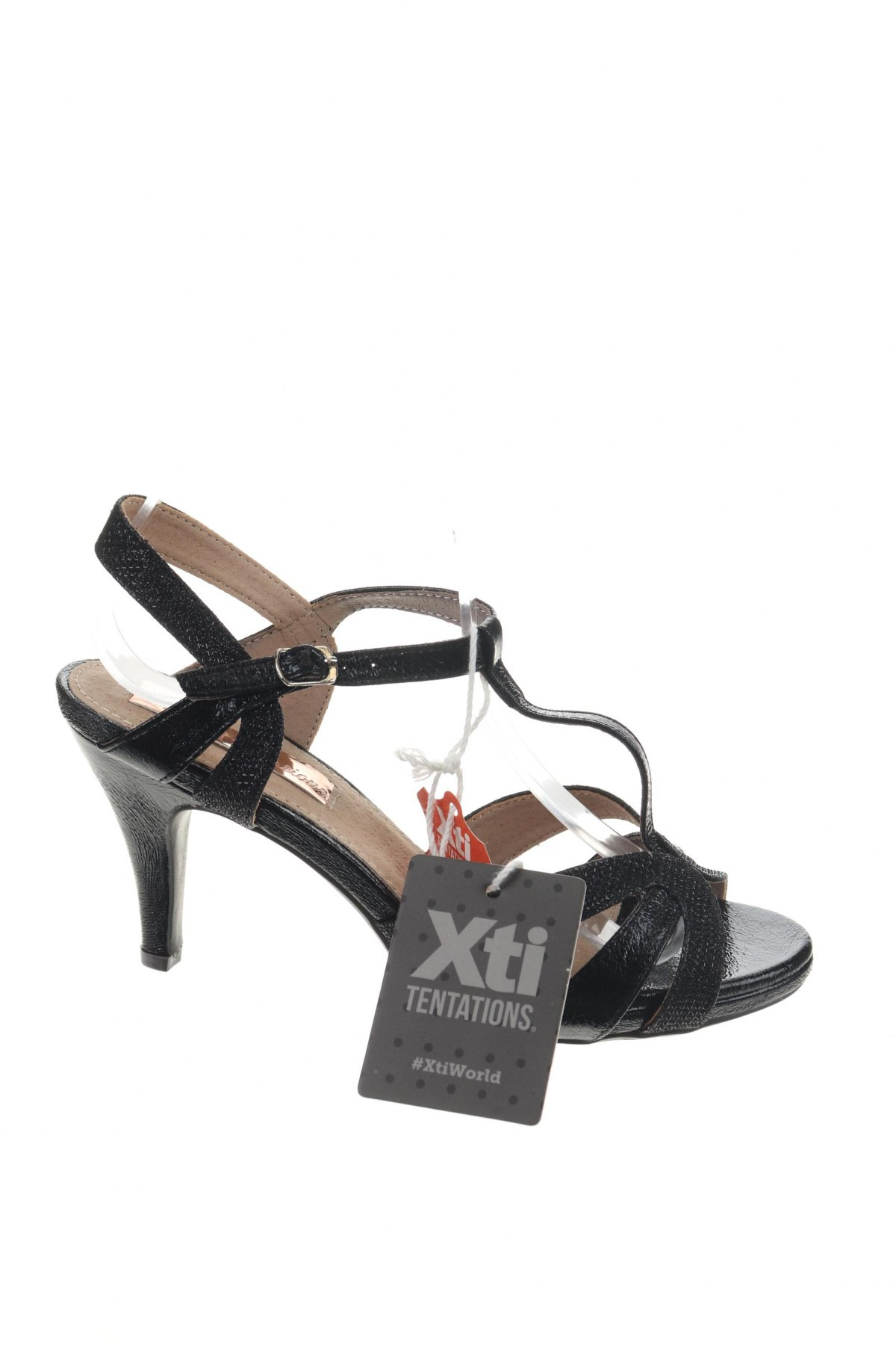 Сандали Xti, Размер 37, Цвят Черен, Еко кожа, Цена 31,05лв.