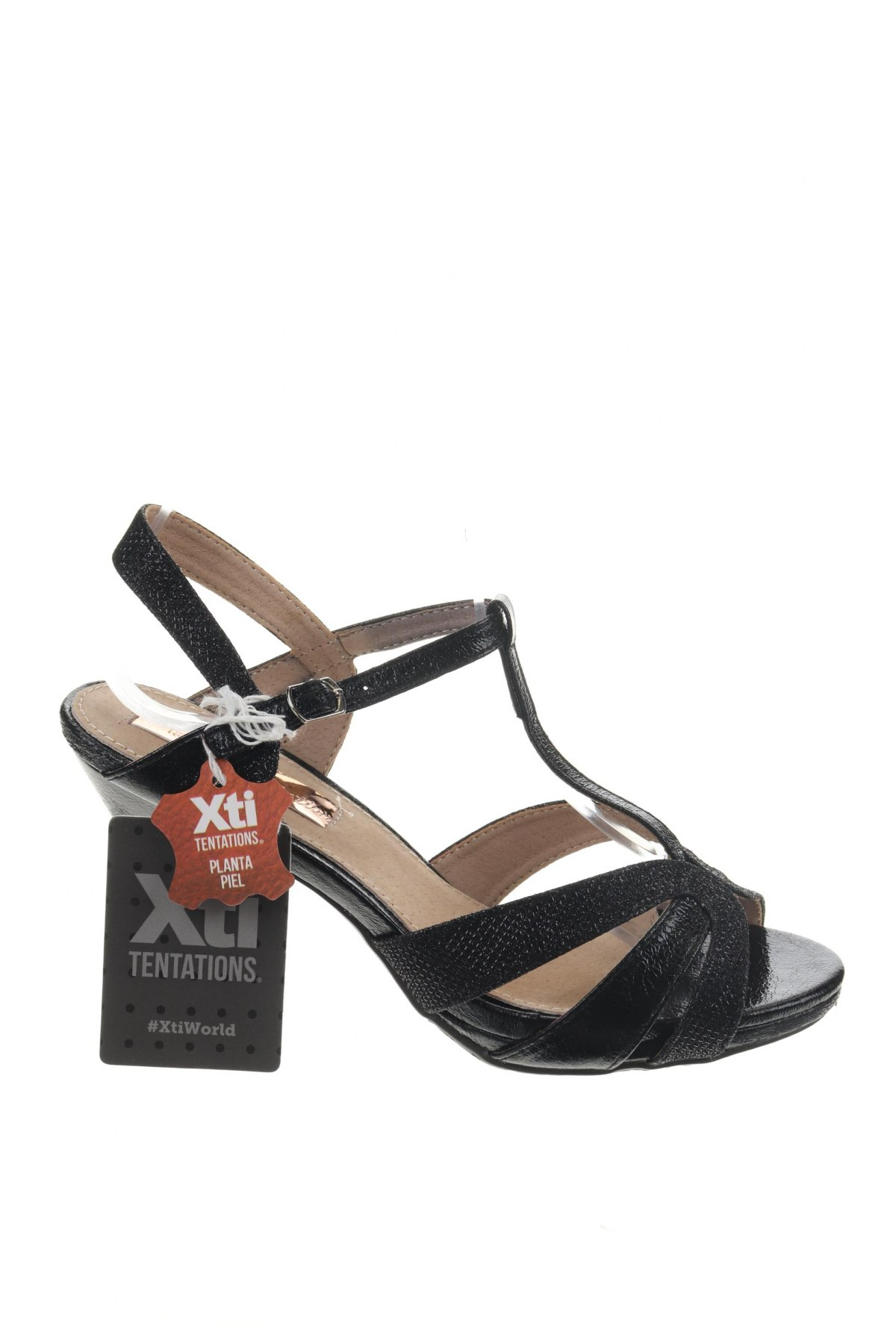 Сандали Xti, Размер 38, Цвят Черен, Еко кожа, Цена 31,05лв.