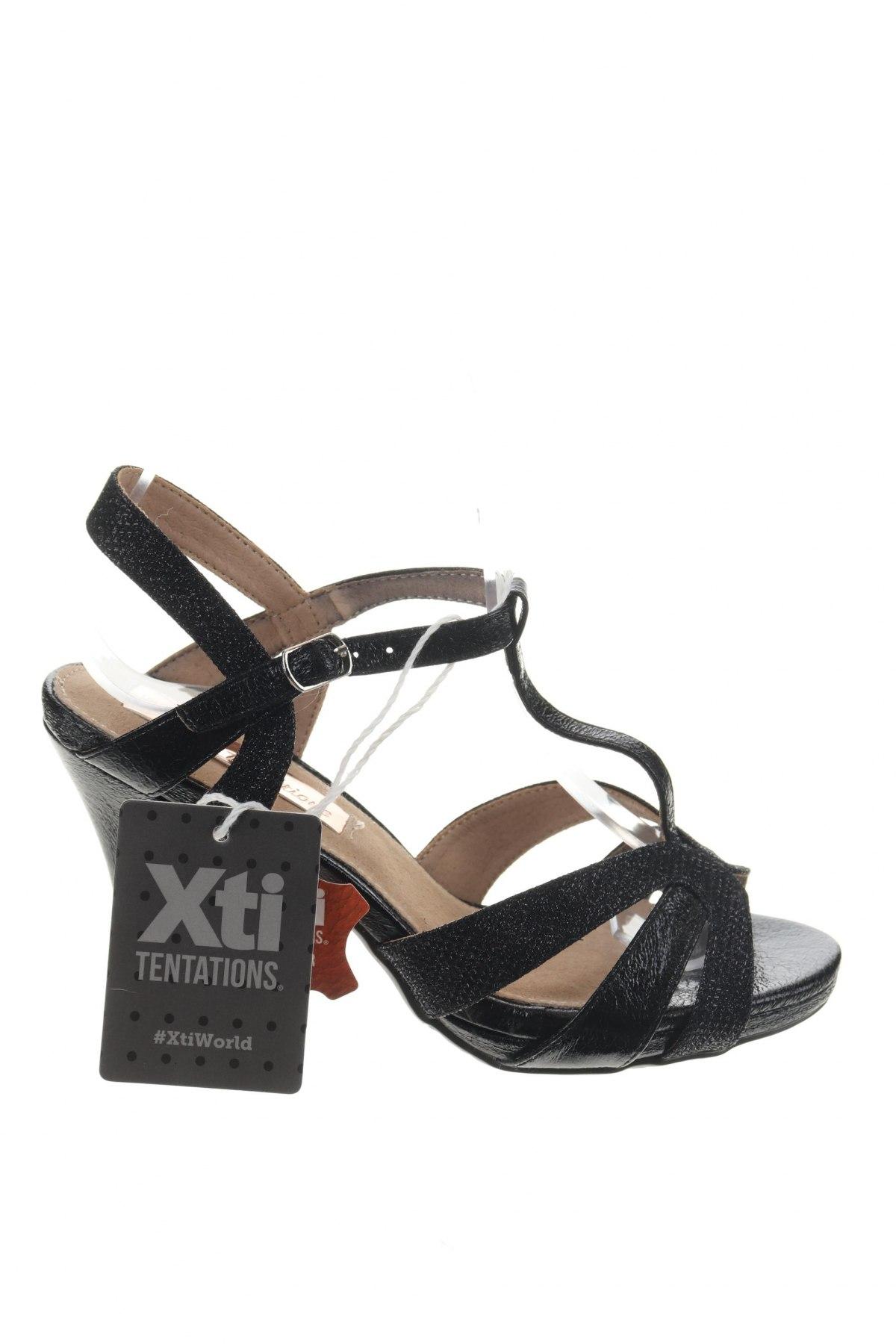 Сандали Xti, Размер 36, Цвят Черен, Текстил, Цена 29,67лв.